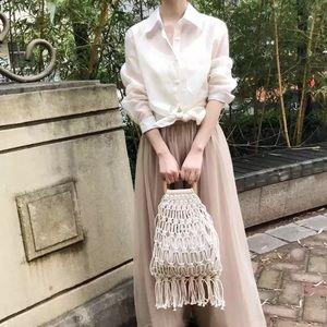 Handmade cotton woven wood handle womens handbags